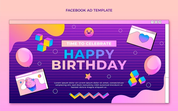 Gradiente retro vaporwave cumpleaños facebook