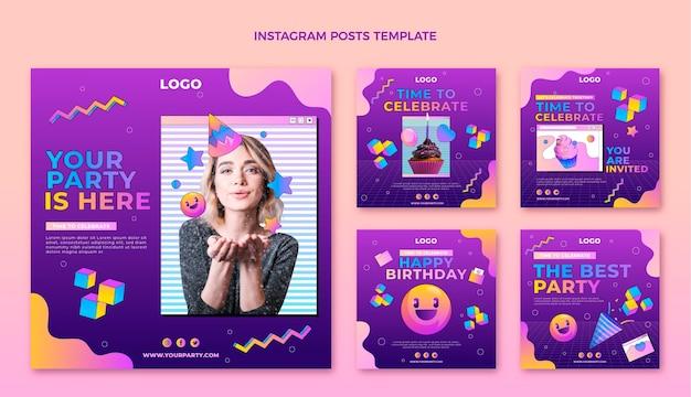 Gradiente retro vaporwave cumpleaños publicación de instagram