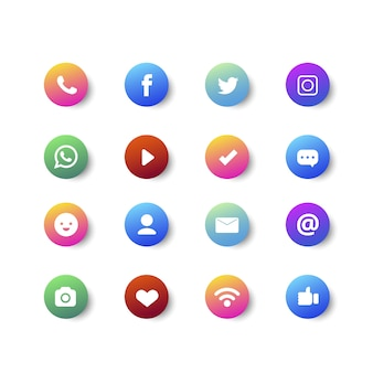 Gradiente viñeta y colección de iconos de redes sociales