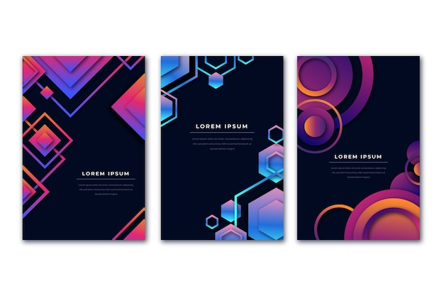 Gradiente violeta y azul formas cubiertas de fondo oscuro
