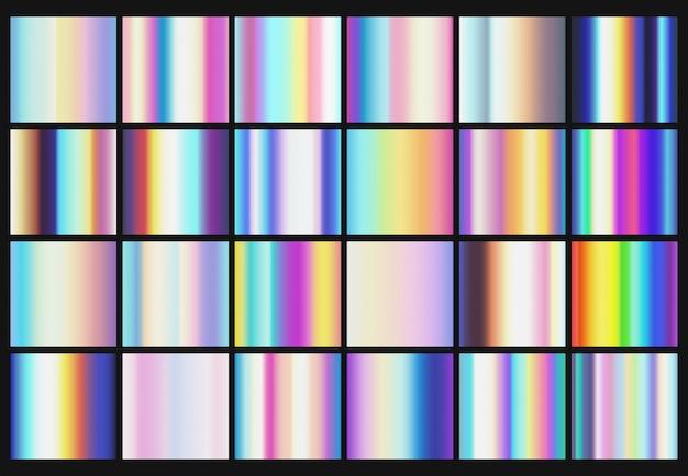 Gradientes metálicos de arco iris con colores holográficos vector plantillas
