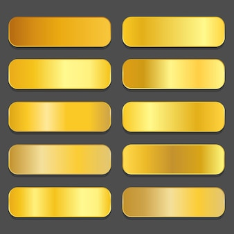 Gradientes de oro amarillo. conjunto de degradados metálicos dorados. vector