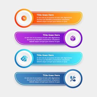 Gradientes paso infografía plantilla diseño plano