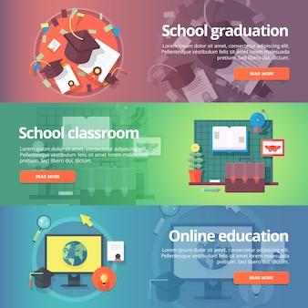 Graduación escolar. toga y birrete. aula de la escuela educación en línea. autoeducación conjunto de banners de educación y ciencia. concepto.