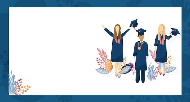 Graduación de estudiantes estilo plano. plantilla de conocimiento de símbolos