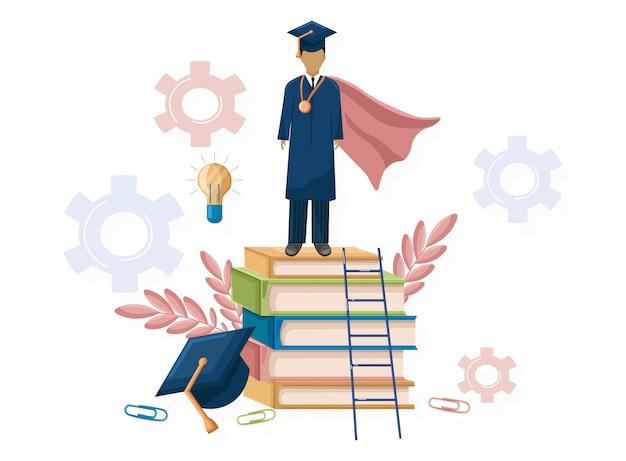 Graduación de estudiantes estilo plano