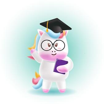 Graduación de lindo unicornio de dibujos animados de mascota