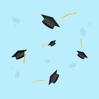 Graduación o vuelo de sombreros académicos en el aire vector ilustración plana de dibujos animados