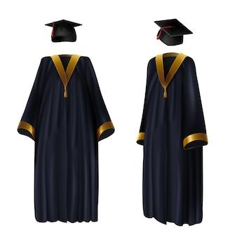 Graduación de la ropa, vestido y gorra de ilustración realista. traje tradicional de la escuela