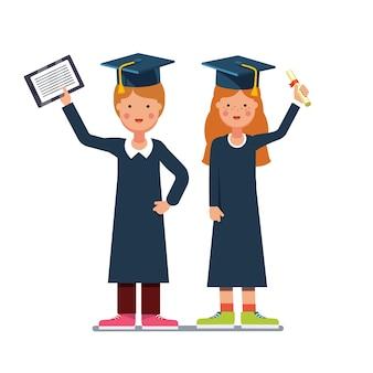 Graduado estudiantes muchacho y niña con diploma