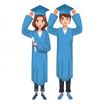 Graduado joven pareja de dibujos animados