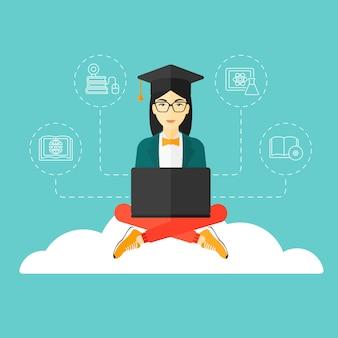 Graduado sentado en la nube