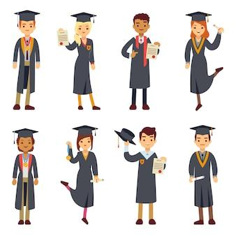 Graduado de la universidad joven y personajes de los estudiantes universitarios establecidos.