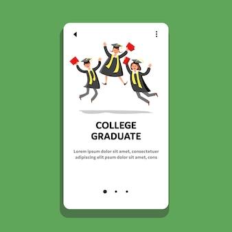 Graduado universitario celebra estudiantes felices