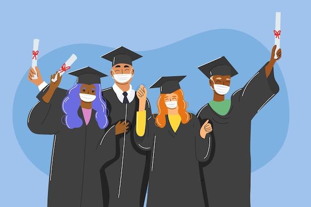 Graduados con colección de máscaras médicas