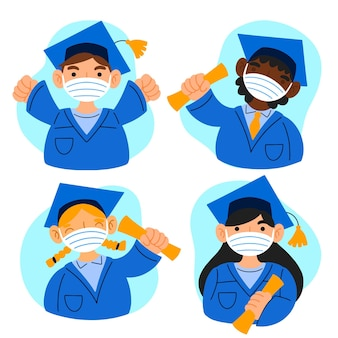 Graduados con máscaras ilustración