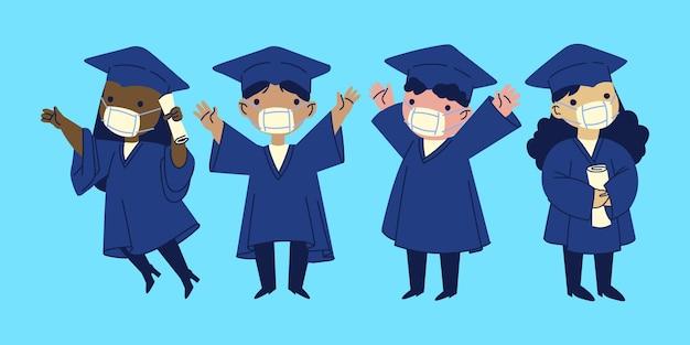Graduados con máscaras médicas ilustración