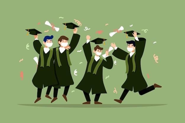 Graduados con máscaras médicas