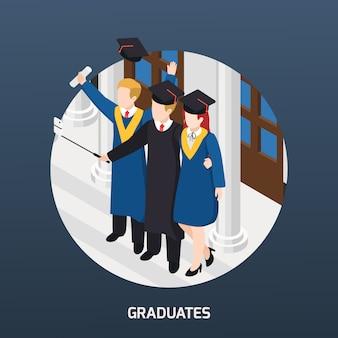Graduados universitarios con diploma en sombreros académicos haciendo selfie composición isométrica tarjeta de invitación ilustración de marco redondo