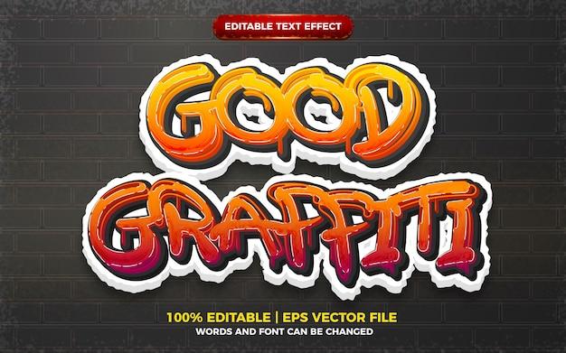Graffiti art style logo efecto de texto editable 3d