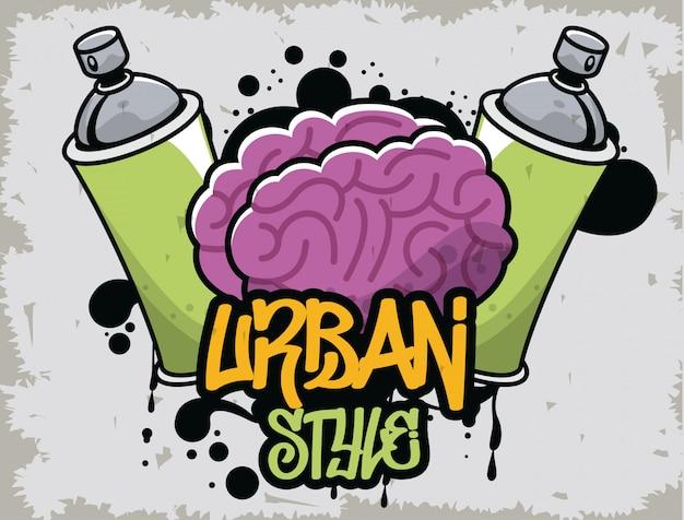 Graffiti de estilo urbano con botella de spray de pintura y cerebro