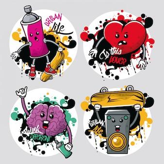 Graffiti de estilo urbano con conjunto de elementos