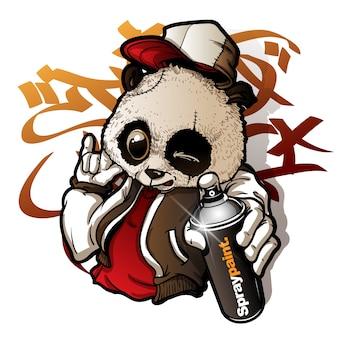 Graffiti personaje lindo panda sosteniendo una pintura en aerosol