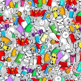 Graffiti personajes de patrones sin fisuras