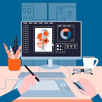 Gráfica trabajando en la computadora. imagen en la pantalla del dispositivo. ilustración digital. concepto de creatividad. ilustración