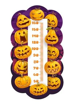Gráfico de altura de niños de calabazas de dibujos animados de halloween