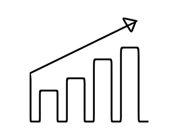 Gráfico de barra de negocios en línea arte de línea continua