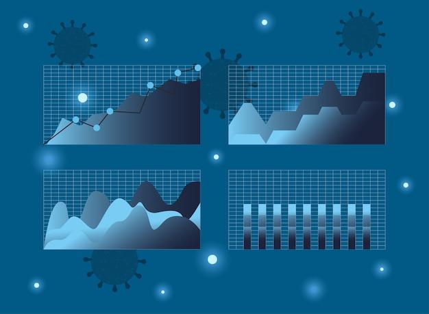 Gráfico de barras de área de estadísticas de virus covid 19 y aumento de diseño de icono de estilo de degradado de línea