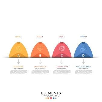 Gráfico de barras con cuatro elementos coloridos redondeados con pictogramas lineales, letras en el interior y flechas apuntando a cuadros de texto. concepto de 4 pasos sucesivos. plantilla de diseño infográfico. ilustración vectorial.