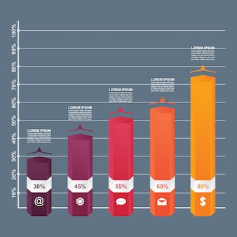Gráfico de barras diagrama de diagrama estadístico negocio infografía plantilla ilustración