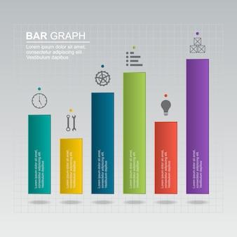 Gráfico de barras diagrama gráfico analítica financiera estadística negocio infografía ilustración