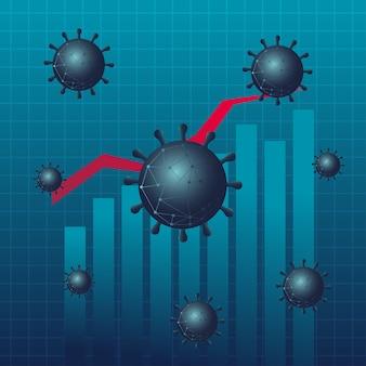 Gráfico de barras de estadísticas de virus covid 19 con diseño de icono de estilo de gradiente de línea de aumento