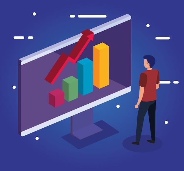 Gráfico de barras con flecha de aumento en diseño de computadora y hombre, análisis de datos y tema de información