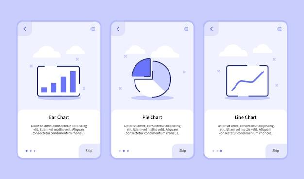 Gráfico de barras, gráfico circular, gráfico de líneas, pantalla de incorporación para la plantilla de aplicaciones móviles