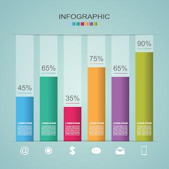 Gráfico de barras gráfico de pasos diagrama estadístico de negocios infografía ilustración