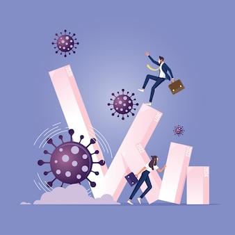 El gráfico de barras del impacto del patógeno del coronavirus cae y colapsa en la gente de negocios