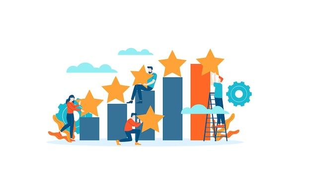 Gráfico de barras de logros calificación de revisión de estrellas las personas dan retroalimentación ilustración plana