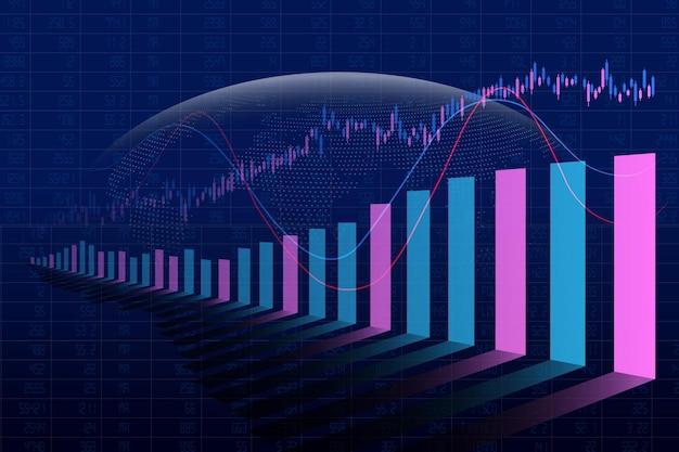 Gráfico de barras del mercado de valores financiero abstracto sobre fondo global