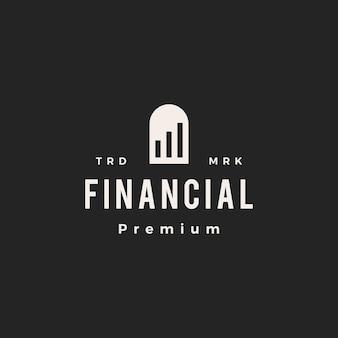 Gráfico de barras de la puerta del nicho financiero arco hipster vintage logo icono ilustración