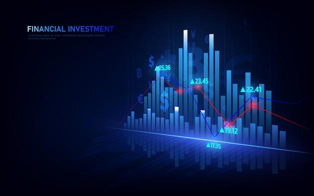 Gráfico bursátil o forex en concepto gráfico adecuado para inversiones financieras o negocios de tendencias económicas.
