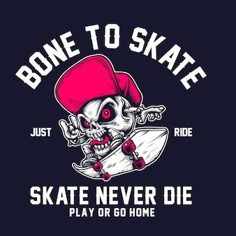 Gráfico de camiseta bone skate