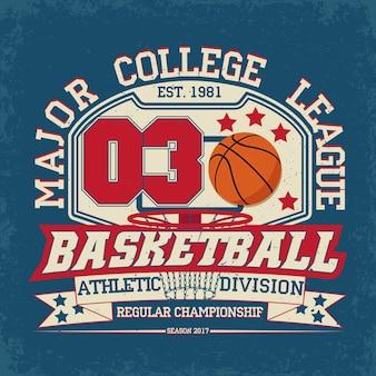 Gráfico de camiseta vintage, sello de impresión de grange, emblema de tipografía de baloncesto, logotipo deportivo