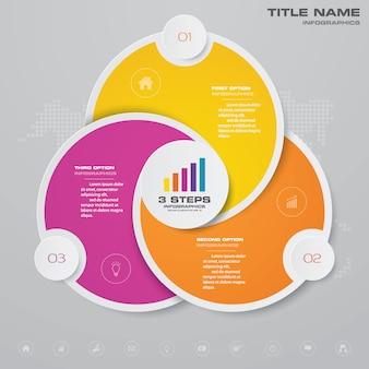 Gráfico de ciclo infográfico para presentación de datos.