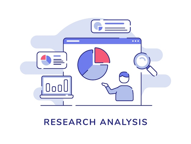 Gráfico circular de estadística de datos de presentación de hombre de concepto de análisis de investigación en pantalla de computadora con estilo de contorno plano