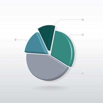 Gráfico circular de información sobre fondo blanco