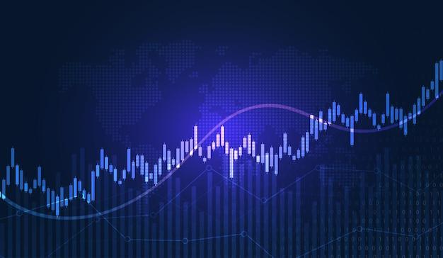 Gráfico de comercio de inversión bursátil en concepto gráfico adecuado para inversión financiera